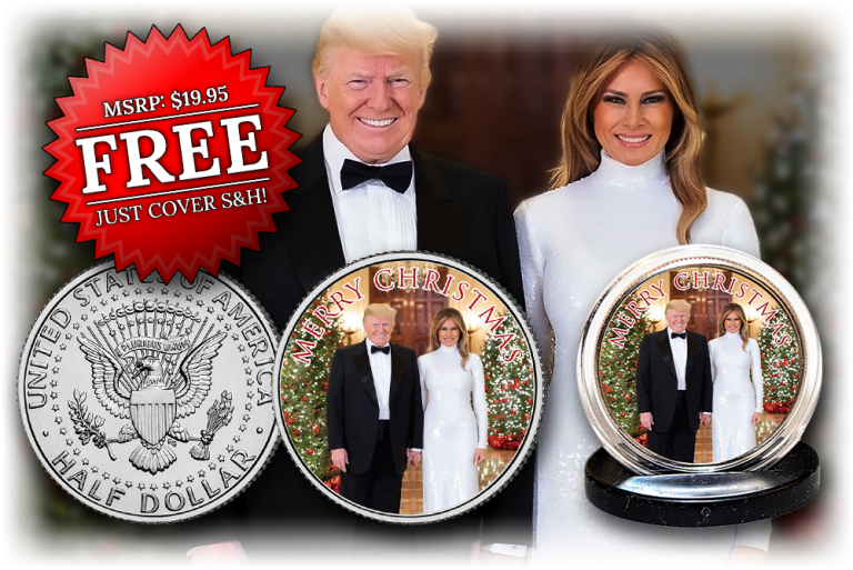 Exclusive – FREE Donald & Melania Trump Christmas Collector Coin